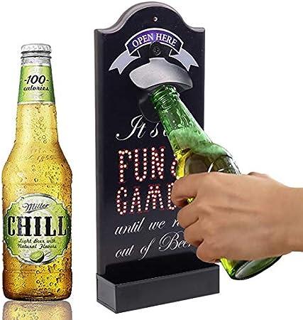 OLT-EU Abrebotellas de Pared, Abrebotellas Cerveza Madera Retro con Cap Collector para Bar, Cocina, Hogar, Garaje, Patio, Regalo para Padre y Amigo
