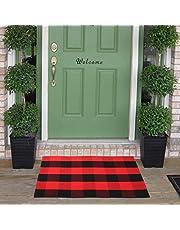 Homcomoda Cotton Plaid Checkered Area Rug Hand Braided Kitchen Floor Rug Runner Washable Carpet