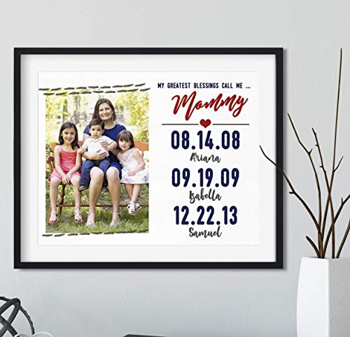 My Greatest Blessings Call me Mommy Gift with Your Photo, Black Frame Available, Personalized Gift for Mom
