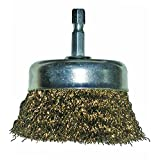 Shark 14033  0.016-Gauge Brass Coated Wire   3-Inch Cup Brush with Hex Mandrel