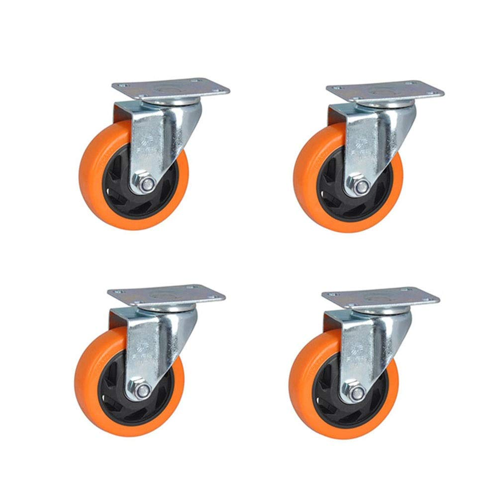 MUMA Castor Wheels 125KG 100mm Polyvinyl Chloride Directional Universal Brake Screw Swivel Caster Orange 4 Pieces /6 Pieces Wear-Resistant, Quiet, Stable (Color : T2, Size : 4 inch 4 Pieces)