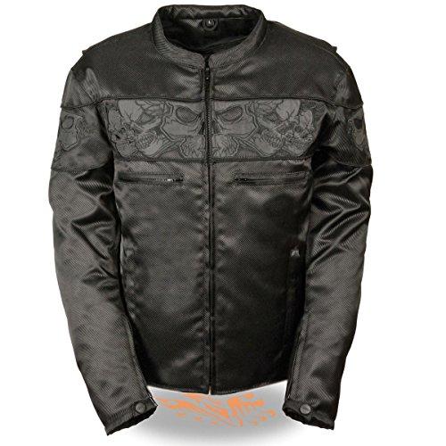Mens Reflective Skull Leather - Milwaukee Leather Mens Reflective Skulls Black Textile Jacket with Gun Pockets - X-Large