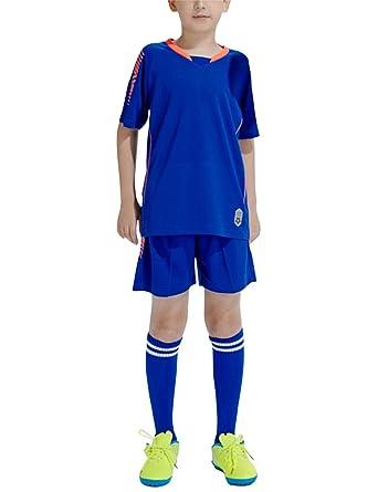 besbomig Jungen Fussball Trikots Set Kind Team Training Wettbewerb Sportbekleidung Kurze Ärmel T Shirt & Shorts und Socken Soccer Uniforms