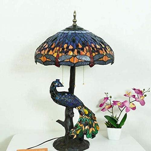 Tafellampen voor lounge 46 Cm Tafellampstijl Tafellamp met Pauwglazen Lampen Romantische Retro Woonkamerverlichting