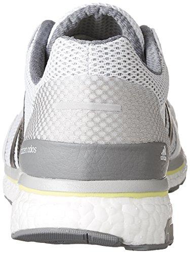 Mens Adidas Performance Adizero Adios M In Esecuzione Scarpa Bianca / Tracciare Grigio Metallizzato / Giallo Solare