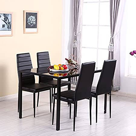 WarmieHomy Dining Table Chairs Glass Set And 4 Faux Leather Black