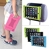 TFY Kids Car Headrest Mount Holder for iPad Mini 4 - Detachable Lightweight Shockproof Anti-slip Soft Silicone Handle Case (Pink)