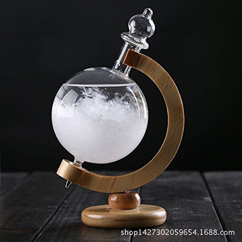 Creative Weather Forecast Crystal Revolving Globe Shape Storm Glass Home Decor Christmas Gift with Base Amyove