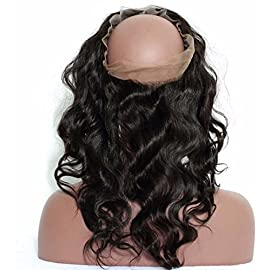 A2ZWIG Brazilian Body Wave Pre Plucked Natural Hairline Human Hair 130% Density 360 Lace Frontal (14, 3 Part)