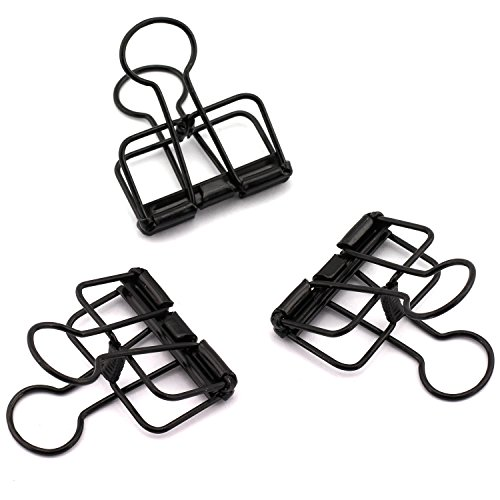 NXG 12-Pack Medium Metal Wire Binder Clips, Office Supplier School Accessories,Colorful Hollow Out Paper Organizer, Paper Binder Clip (Black)