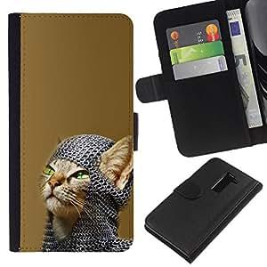 YiPhone /// Tirón de la caja Cartera de cuero con ranuras para tarjetas - Chainmail Guerrero Gato - LG G2 D800