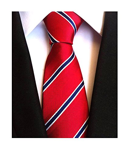 Men Repp Red and Blue Slim Ties Narrow Striped Woven Office Matching uk Neckties