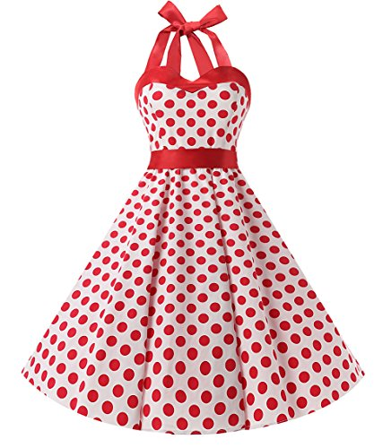 DRESSTELLS 50s Retro Halter Rockabilly Polka Dots Audrey Dress Cocktail Dress White Red Dot -