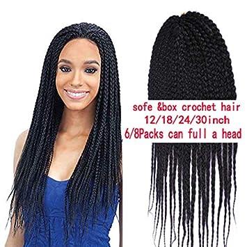 Amazon Com Furice 12 18 24 30inch 3x Box Braids Crochet Hair Brown