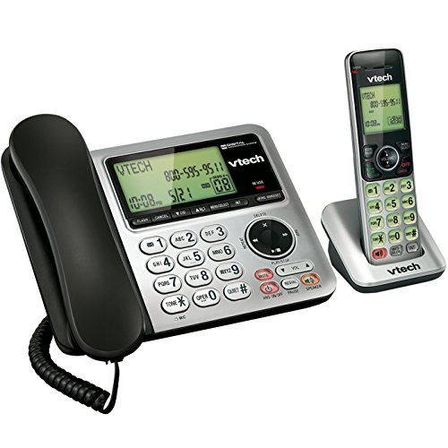 Speakerphone Single Line Display Backlit - VTech CS6649 Expandable Corded/Cordless Phone System with Answering System-Caller ID/Call Waiting & Handset/Base Speakerphones