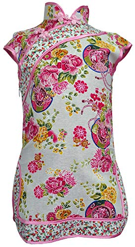 Amazing Grace Elephant Co. Girls' Chinese Costume Cheongsam Qipao Mini Dress (Floral Pink, 6) -