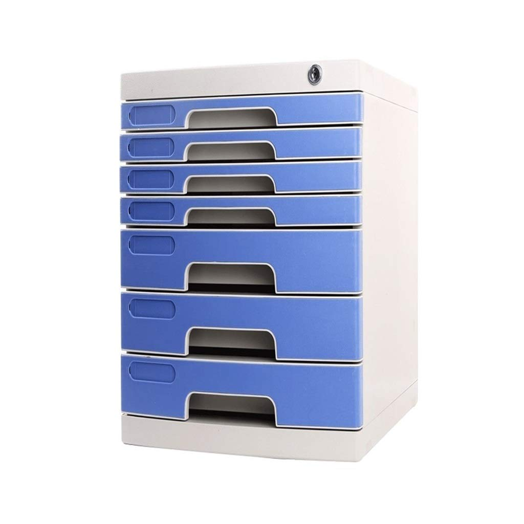 File Cabinet Office Desktop Storage Box Lockable Data Drawer Filing Cabinets Flat File Cabinets (Big 7-Layers)