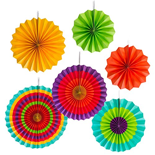 Fiesta Colorful Paper Fans Round Wheel Disc Southwestern Pattern Design for Party, Event, Home Decoration (Set of 6)