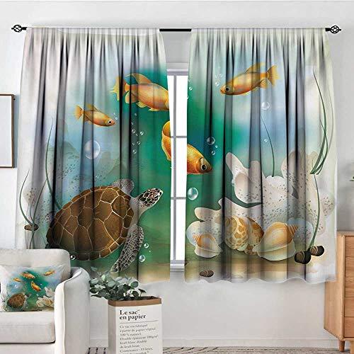 Mozenou Turtle Window Curtain Drape Artistic Ocean Life Illustration Aquarium Tropical Animals Goldfishes and Seashells Drapes for Living Room 72