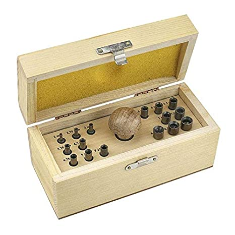 13 E 16 PUNCH BEZEL SETTING TOOL SET IN WOOD BOX WITH HANDLE /& PUNCHES SIZES 2mm-9mm