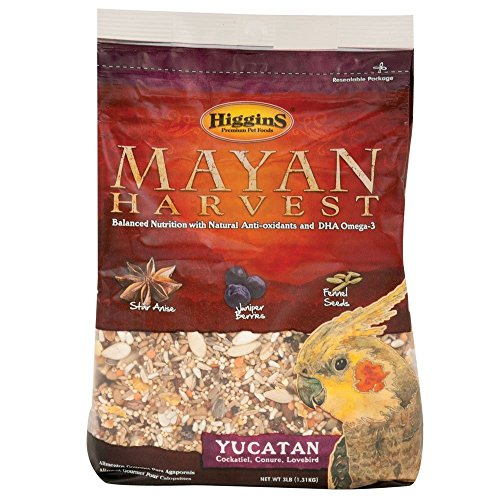Higgins Mayan Harvest Yucatan Food Mix for Cockatiels, Lovebirds & Conures, 3 lbs.