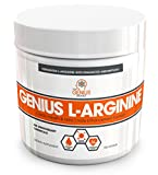 GENIUS L ARGININE Powder - Fermented L-Arginine Nitric Oxide Supplement, Natural Muscle Builder & NO Booster for Healthy Blood Pressure, Protein Synthesis and Strength Building, Unflavored, 30 Sv