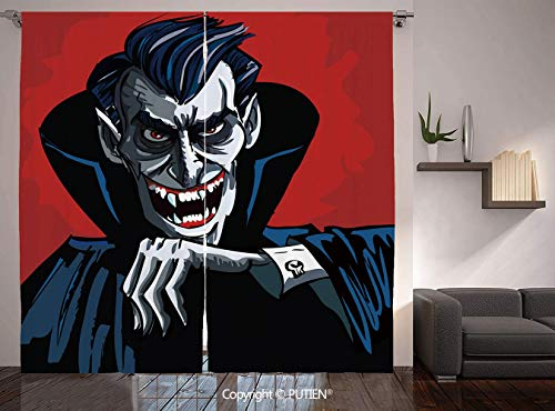 Thermal Insulated Blackout Window Curtain [ Vampire,Cartoon Cruel Old Man with Cape Sharp Teeth Evil Creepy Smile Halloween Theme,Blue Red Grey ] for Living Room Bedroom Dorm Room Classroom Kitchen Ca
