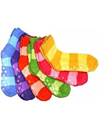 Differenttouch 6 Pairs Pack Super Soft Cozy Fuzzy Winter Slipper Socks