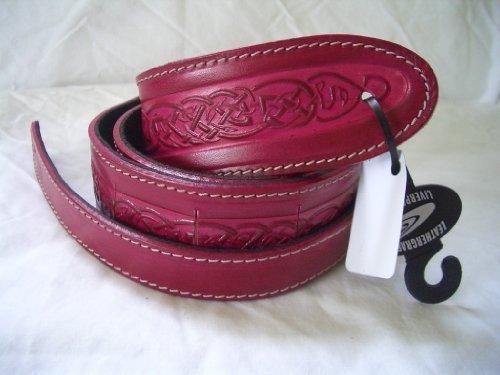 UK Celtic Design Real Leather Guitar Strap - Red