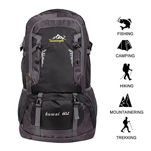 Gohyo 60 L Waterproof Ultra Lightweight Packable Climbing Fishing Traveling Backpack Hiking Daypack,Backpack,Handy Foldable Camping Outdoor Backpack Bag with a Rain Cover