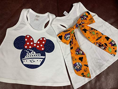 Handmade Disney Halloween Cruise Shirt with Bow on Back ~ Halloween detachable bow on back ~ Mickey's Not So Scary Halloween Party]()