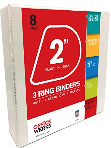 3 Ring Binders, 2 Inch Slant-D Rings, White, 8 Pack,  Clear View, Pockets
