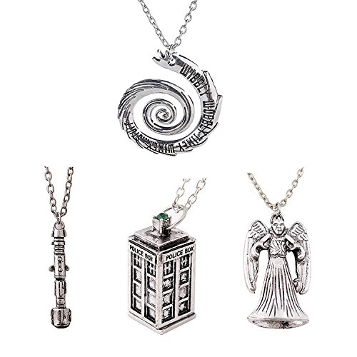 Doctor Who 4 Pack Different Necklace  Wibbly Wobbly Timey Wimey Pendant 11th Doctor Sonic Screwdriver Pewter Finish PENDANT Necklace Inspired 3D Police Box  Chain ()