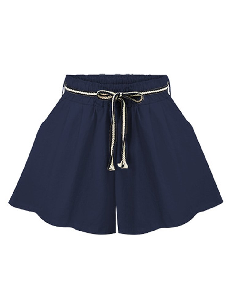 Women's Elastic Waist Casual Loose Wide Leg Beach Shorts Navy Tag M-US 2