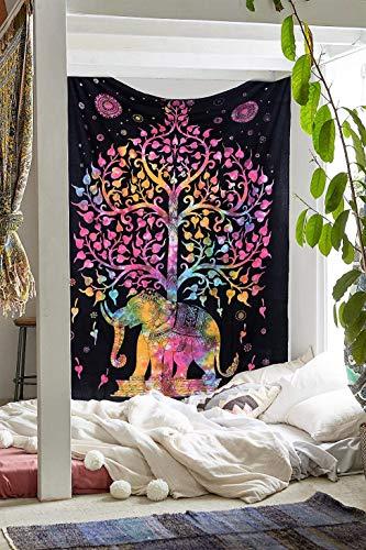 (Ambika Designs 100% Cotton Handmade Hippi Bohemian Indian Multi Ti-Di Elephant Tree Wall Hanging Decorative Indian Art Home Decor Twin Size Tapestry)