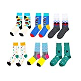 Men's Crew Socks Colorful Fun Patterned Assorted Casual Dress Cotton Socks