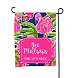 Tin Tree Gifts Customized Garden Flag Pink Flamingo Welcome Sign