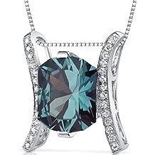 Prince Cut 5.00 carats Sterling Silver Rhodium Finish Simulated Alexandrite Slider Pendant