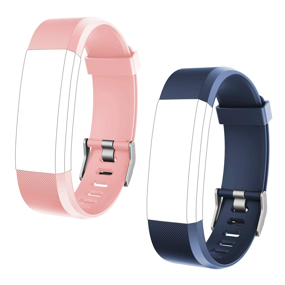 LETSCOM Replacement Bands for Fitness Tracker ID115PlusHR, 2 Pack (Blue, Pink)