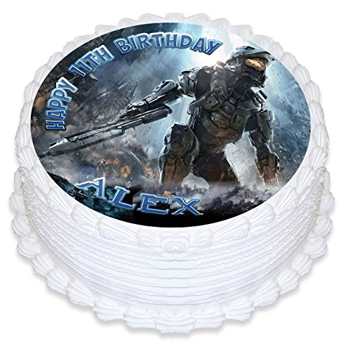 """Price comparison product image Halo Edible Cake Image Personalized Topper Icing Sugar Paper 8"""" Round Circle"""