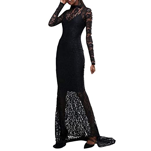 e8166b87a HTDBKDBK Women Fashion Sexy Elegant Backless Lace Patchwork Long Sleeve  Slim Party Dress Prom Dress Cocktail