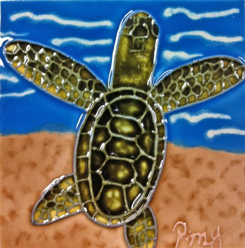 - Continental Art Center SD-114 4 by 4-Inch Sea Turtle No.4 Ceramic Art Tile