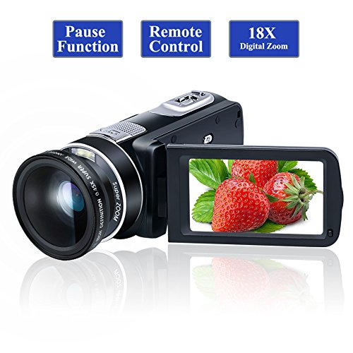 Camcorder Video Camera Full HD 1080P 24.0MP Digital Camera 18x Digital Zoom 2.7' LCD with Wide Angle Close-up Lens