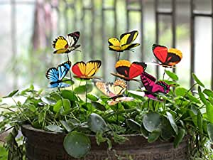 Amazoncom Ginsco 25pcs Butterfly Stakes Outdoor Yard Planter