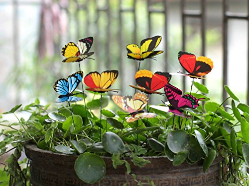 Plant Garden Butterfly (Ginsco 25pcs Butterfly Stakes Outdoor Yard Planter Flower Pot Bed Garden Decor Butterflies Christmas Decorations)