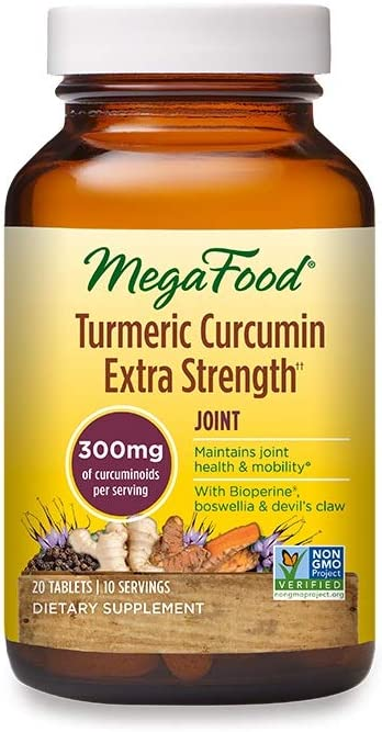 MegaFood, Turmeric Strength for Joint, Maintains Joint Health and Mobility, Vitamin and Herbal Dietary Supplement, Gluten Free, Vegan, 20 Tablets