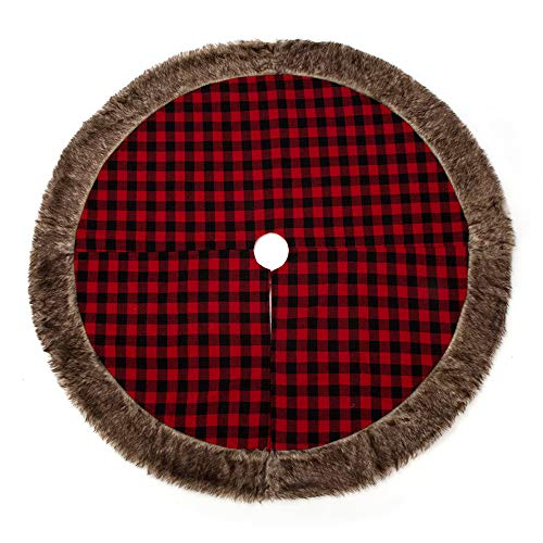 SANNO 48 inch Plaid Christmas Tree Skirt Red Black Buffalo Faux Fur Border Holiday Christmas Decorations
