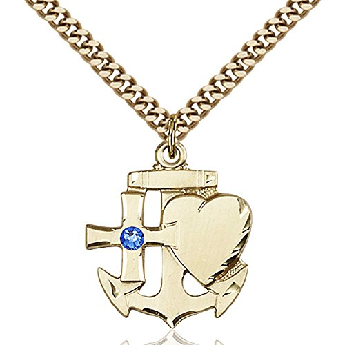 Gold Filled Faith Hope & Charity Pendant with 3mm September Blue Swarovski Crystal 7/8 x 3/4 inches with Heavy Curb Chain by Bonyak Jewelry Saint Medal Collection