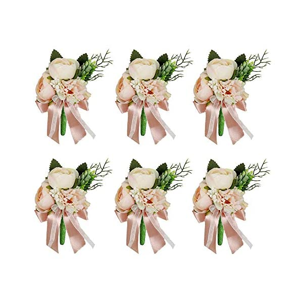 HiiARug Pink Groom Boutonniere 6pcs with Pins, Artificial Groomsmen Best Man Corsage Buttonholes Rose Carnation Wedding Flowers for Wedding Party Prom Decoration (D Boutonnieres Pink 6PCS)