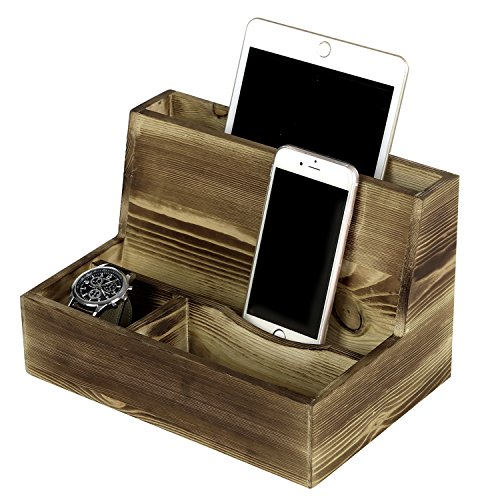 Rustic Torched Wood Smartphone & Tablet Cradle Valet, Tabletop Charging Station, Brown